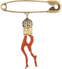 Givenchy Faux Coral Safety Pin Silver Red