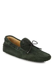 Tod's Suede Braided Tie Drivers Forest Green