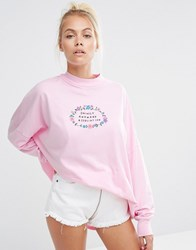 Lazy Oaf High Neck Long Sleeve T Shirt With Awkward Print Pink