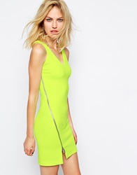 Supertrash Damie Zip Dress In Acid Yellow Fluoyellow