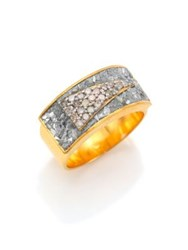 Shana Gulati Banjara Latur Pave Champagne Diamond Sliced Raw Diamond And 18K Gold Vermeil Ring