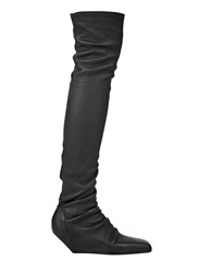 Rick Owens Thigh High Nappa Leather Boots Black