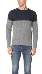 Hartford Shetland Cable Sweater Navy Grey