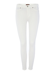 7 For All Mankind Highwaisted Skinny Ankle Length Jean In White