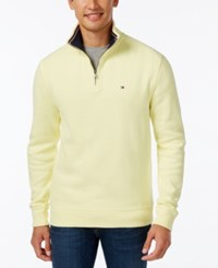 Tommy Hilfiger Men's Ribbed Quarter Zip Sweater Waxed Yellow
