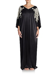 Josie Natori Couture Liz Embellished Satin Caftan Nightgown Black