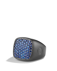 David Yurman Pave Signet Ring With Sapphires Black Silver