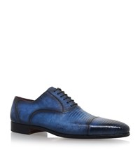 Magnanni Textured Lizard Oxford Shoes Male Blue