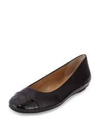 Neiman Marcus Shantell Leather Cap Toe Flat Black Bla