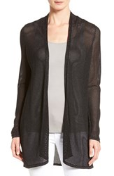 Eileen Fisher Petite Women's Tencel Lyocell Twisted Pointelle Cardigan Ash Black
