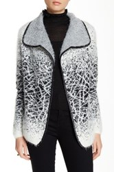 Sisters Shawl Collar Faux Leather Trim Cardigan Multi