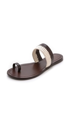 Tory Burch Bicolor Woven Flat Slides Coconut Coconut Ivory