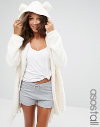 Asos Tall Fluffy Cloud Robe With Ears Cream