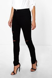 Boohoo High Rise Ultra Rips Tube Jeans Black