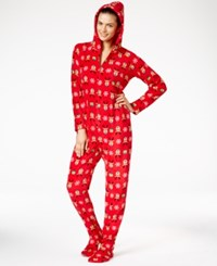 Family Pajamas Women's Supersoft Reindeer Hooded And Footed Only At Macy's Deerprint