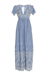 Luisa Beccaria Cotton Embroidered V Neck Maxi Dress Blue