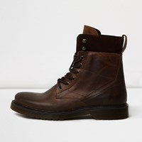 River Island Mens Brown Leather Panel Work Boots