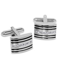 Geoffrey Beene Cufflinks Striped And Crystal Bowed Rectangle Cufflinks Boxed Set Silver