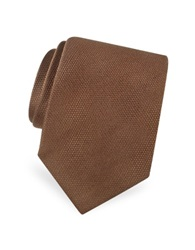 Forzieri Gold Line Solid Woven Silk Tie Brown