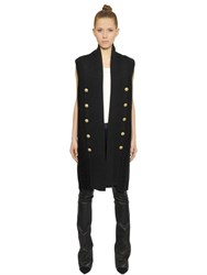 Balmain Sleeveless Wool Rib Knit Long Cardigan