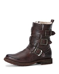 Frye Cold Weather Booties Valerie Strappy Shearling Dark Brown