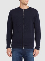 Norse Projects Navy Skagen Bubble Knit Wool Zipped Cardigan Blue