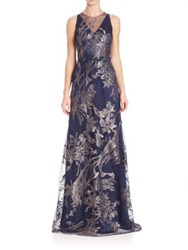 David Meister Illusion V Neck Floral Embroidered Gown Navy Silver