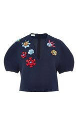 Delpozo Flower Embellished Cropped Blouse Navy