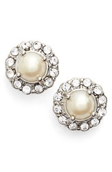 Women's Marchesa Faux Pearl And Crystal Button Earrings White Silver