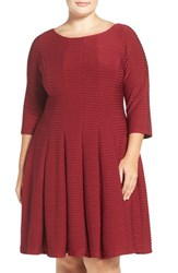 Gabby Skye Plus Size Women's Pintuck Knit Fit And Flare Dress Garnet