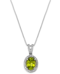 Macy's Peridot 2 Ct. T.W. And Diamond 1 10 Ct. T.W. Oval Pendant Necklace In Sterling Silver