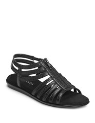 Aerosoles Clothesline Faux Leather Gladiator Sandals Black Lizard