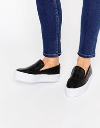 Asos Duchess Slip On Trainers Black Snake