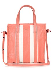 Balenciaga Bazar Small Leather Tote Pink Stripe