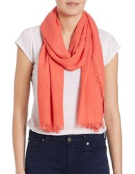 Lord And Taylor Solid Fringe Accented Scarf Coral