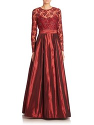 Rickie Freeman For Teri Jon Embellished A Line Gown Wine