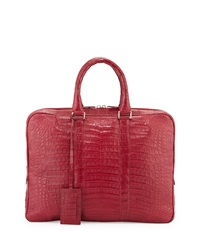 Santiago Gonzalez Crocodile Compartment Skinny Briefcase