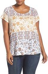 Lucky Brand Plus Size Women's 'Maluya Floral' Print Jersey Tee Red Multi
