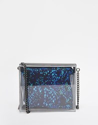 French Connection Resin Box Clutch Bag Blue