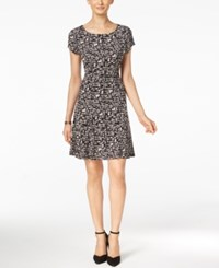 Connected Printed Fit And Flare Dress Black Ivory