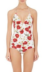 Dolce And Gabbana Floral One Piece Halter Swimsuit Red