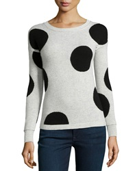 Philosophy Cashmere Cashmere Polka Dot Sweater Gray Black