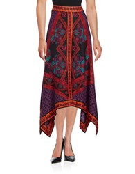 Context Printed Handkerchief Skirt Red Multi