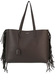 Saint Laurent Fringed Shopper Tote Grey
