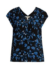 Rebecca Taylor V Neck Crepe Top Black Blue