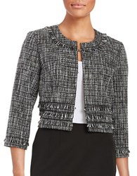 Karl Lagerfeld Open Front Tweed Blazer Black White