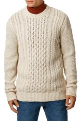 Topman Cable Knit Crewneck Sweater Beige