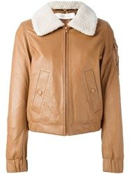 See By Chloe Shearling Collar Aviator Jacket Nude And Neutrals