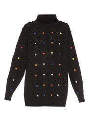 Preen Leite Floral Embroidered Wool Sweater