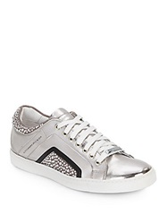 Alessandro Dell'acqua Studded Metallic Leather Lace Up Sneakers Silver